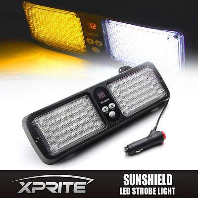Xprite 86 LED Emergency Warning Flash Sunshield Visor Strobe Light- Amber/White