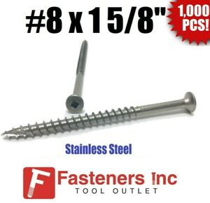 """#8 x 1-5//8/"""" Stainless Steel Deck Screws Bugle Square Drive Wood Type 17 Qty 250"""