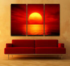 Beautiful Red Sunset over Sea FRAMED Gallery wrap Canvas print Triptych