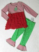 Mis Tee V-us 2pc Knit & Soft Ruffles Tunic & Pant Holiday Ornament Set