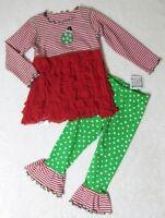 Mis Tee V-us 2pc Knit & Soft Ruffles Tunic & Pant Holiday Ornament Set