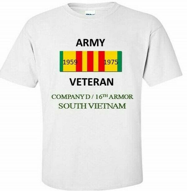 COMPANY  D   16TH ARMOR SOUTH VIETNAM  VIETNAM VETERAN RIBBON hemd schweiß