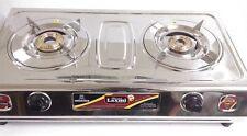FULL STAINLESS STEEL BODY 2 BRASS BURNER GAS STOVE COOKTOP HOB LPG PROPANE SLEEK