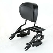 Black Backrest Sissy Bar+Docking Kit+Stealth Rack For 09-13 Harley Street Glide
