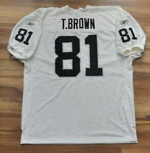 TIM BROWN OAKLAND RAIDERS JERSEY REEBOK WHITE AUTHENTIC SEWN ON ...