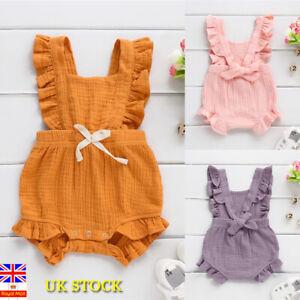 UK Stock Newborn Infant Baby Girl Ruffle Romper Bodysuit Jumpsuit Sunsuit Outfit
