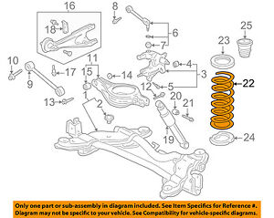 honda oem 02 04 odyssey rear suspension coil spring 52441s0xa14 ebay rh ebay com 2012 honda odyssey suspension diagram 2004 honda odyssey front suspension diagram