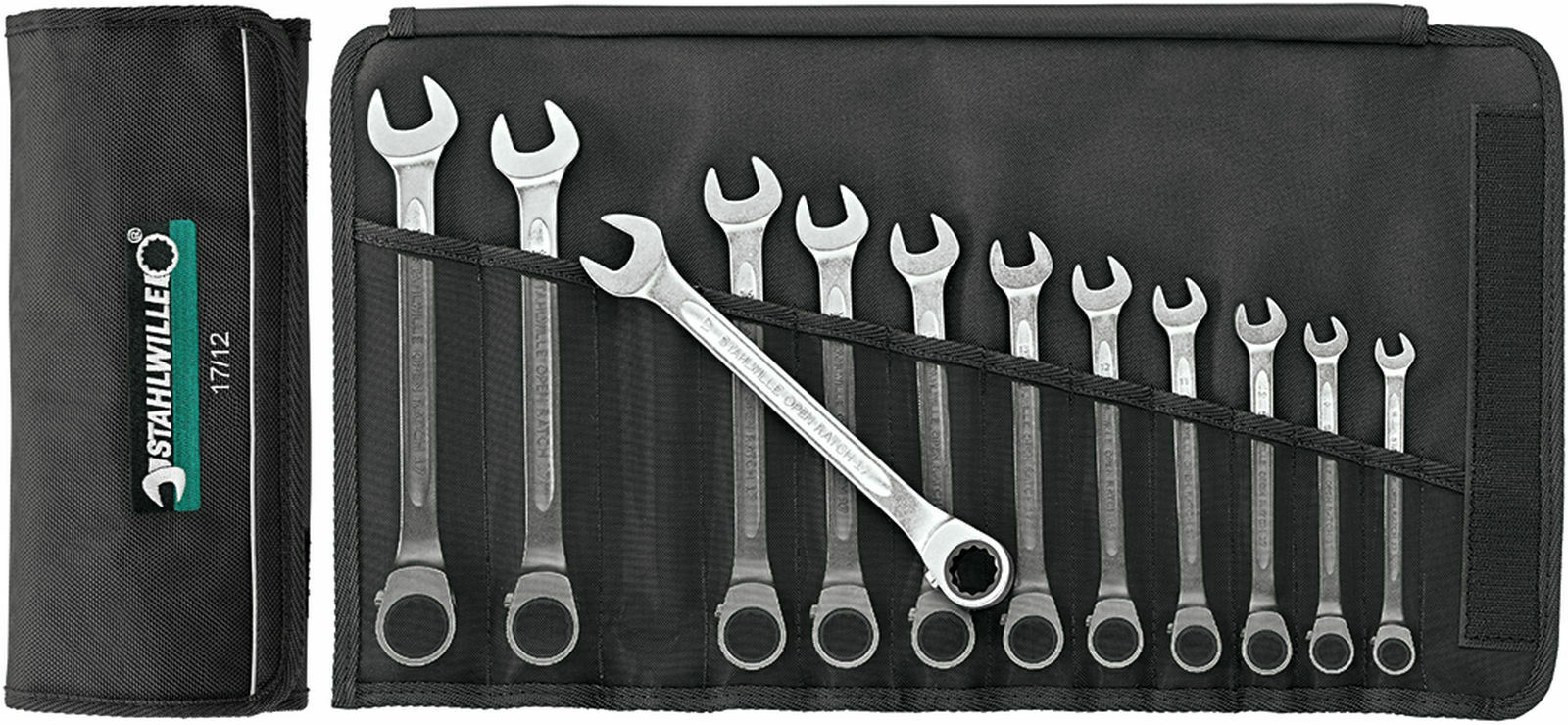 Stahlwille SET COMBINATION RATCHETING SPANNERS 96411712 Set with  12 Psc. 17 12