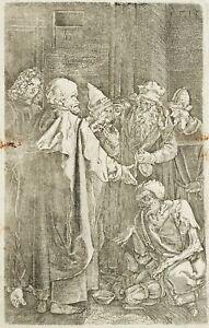 BUNDELE nach A.DÜRER: Petrus und Johannes heilen den Lahmen, 19. Jhd, Kupferst