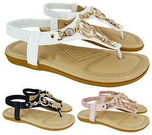 b7ad542d7cd2 LADIES WOMENS FLAT COMFORT DIAMANTE SUMMER BEACH DRESS SANDALS SHOES ...