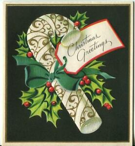 VINTAGE CHRISTMAS BLACK WHITE GOLD CANDY CANE HOLLY EMBOSSED MCM GREETING CARD