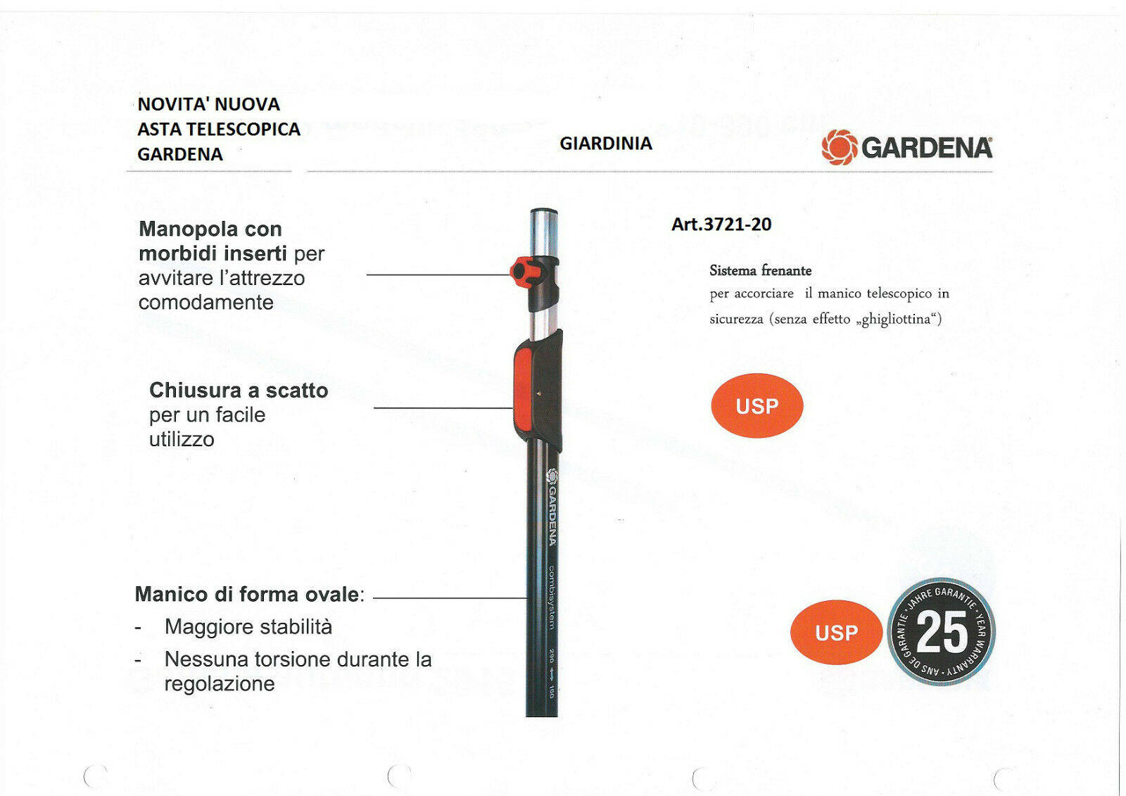 MANICO TELESCOPICO COMBISYSTEM GARDENA 210- 390 NEW Art.3721-20