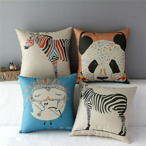 43x43cm-Vintage-Cute-Animal-Zebra-Panda-Throw-Pillow-Case-Car-Back-Cushion-Cover