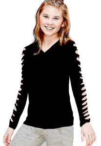 So Cute ~~~~~Girls T-Shirt with Cut Out   Long Sleeve T-Shirt Size 10 ~ 12