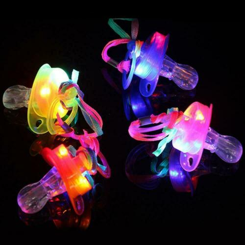 Light Up Pacifier LED Rave Party Supplise Glowing Whistle Toy Flashing Lany W1K5