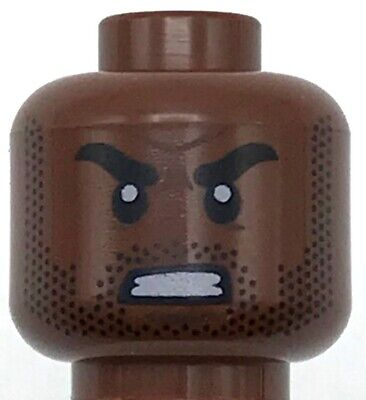 Lego New Minifigure Head Dual Sided Male Reddish Brown Eyebrows with Beard