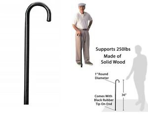 Details About Carex Round Handle Wood Cane Wooden Walking Cane With Rubber Tip Sturdy Senior