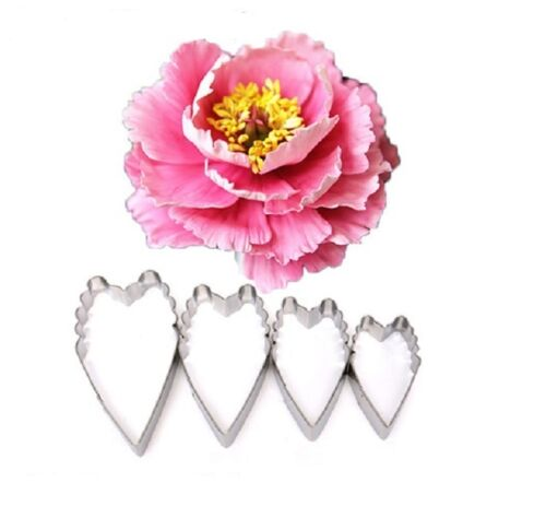 Long Carnation Peony Flower 4 piece Metal Cookie Pastry Fondant Cutter Set