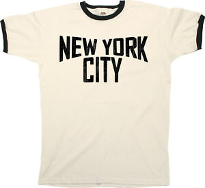 New-York-CITY-Lennon-Mens-RINGER-T-Shirt-Birthday-gift-Retro-Style