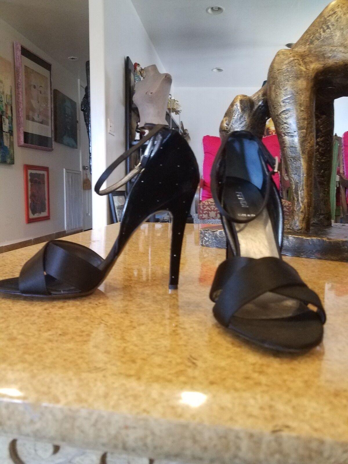 Fendi Black Satin/Velvet High Heel Sandal With Glitter Back/Heel Detail   Detail Sz 40 711f85