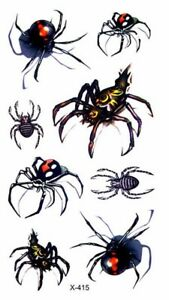 Details About Black Widow Spiders Bugs Halloween Temporary Fake Tattoo Transfer Sticker Face