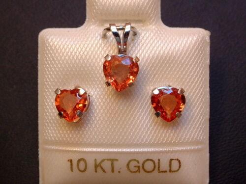 Weißgold 417 Ohrringe /& Anhänger 1,8 ct Orange Saphire Schmuckset 10 Kt