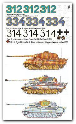 King Tiger 3 tanks Peddinghaus 1//35 Tiger II 983 Tank Markings WWII No.3