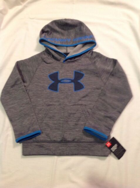 Boys Youth Under Armour Big Logo Pullover Hoodie Black Gray Size 6 NWT