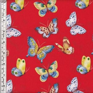 Blue-and-yellow-butterflies-on-bright-orange-quilting-fabric-per-HALF-YARD