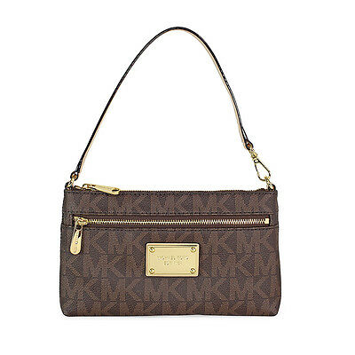 Michael Kors Jet Set Large Wristlet in Vanilla | Brown MK Logo