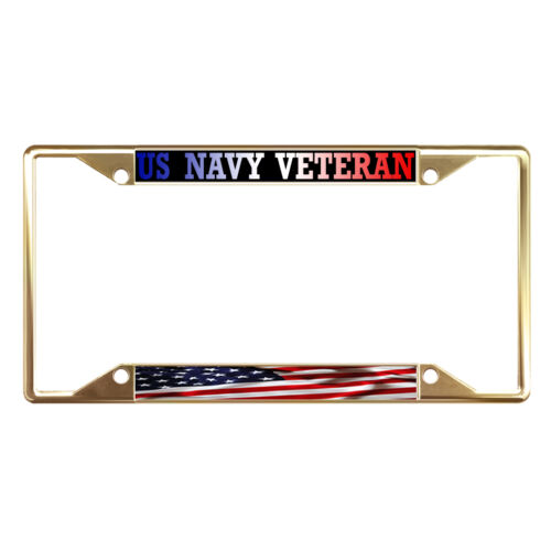 US NAVY VETERAN AMERICAN FLAG Metal License Plate Frame Tag Holder Four Holes