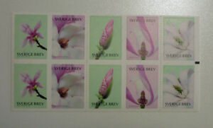 2015-SWEDEN-MAGNOLIAS-10-STAMP-BOOKLET-MINT-STAMPS