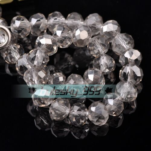 50pcs 10mm Rondelle Faceted Crystal Glass Loose Spacer Beads lot Jewelry Making