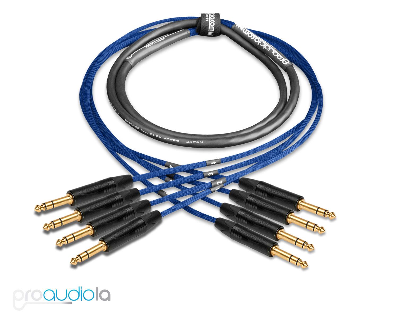 Premium 4 Channel Mogami 2931 Snake   Neutrik Gold 1 4  TRS   Blau 5 Feet