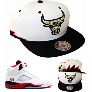 Mitchell   Ness Chicago Bulls Snapback Hat Air Jordan 5 Retro Fire ... c901d6be47a