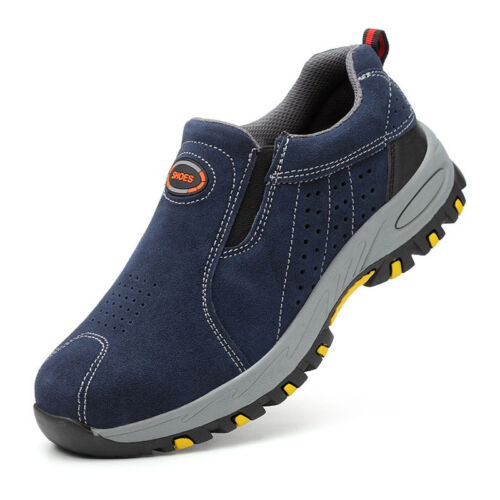 Mens Safety Shoes Steel Toe Cap Work Boots Slip On Protect Work Shoes Breathable