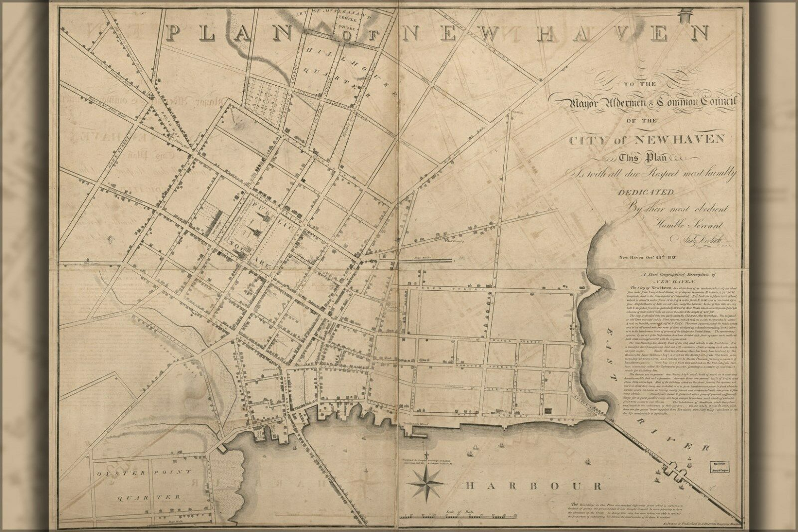 Poster, Molte Misure; Mappa Del Nuovo Haven Connecticut 1817