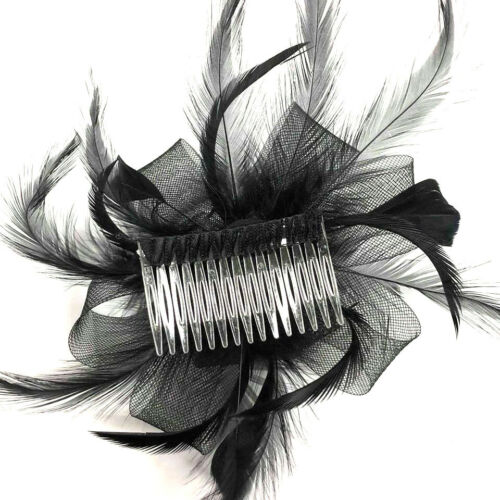 Black Looped Comb Feather Fascinator Ladies Day Races Royal Ascot Hair Flower 2