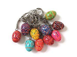 Ukrainian-10-Keychains-Wooden-Easter-Eggs-Painted-Pysanka-Pysanky-Souvenir