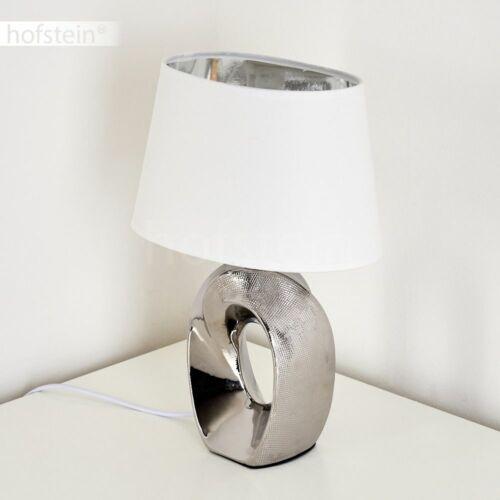 Keramik silber Nacht Tisch Lese Lampen Schlaf Wohn Zimmer Leuchten Stoff weiß