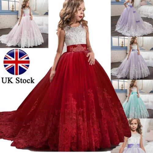 Girl Lace Bridesmaid Maxi Full Dress Party Princess Lace Embroidery Kids Dresses