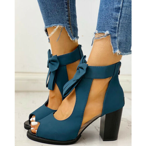 Women/'s Ankle Strap Sandals Bowtie Peep Toe Block High Heel Zipper Party Shoes