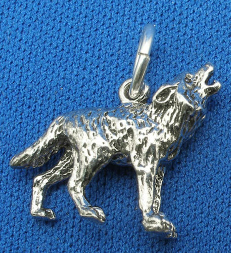 hand crafted sterling silver Howling Lone Wolf  3 D necklace pendant