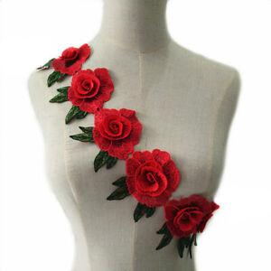 1-Yard-Ethnischer-Blumen-Spitze-Borten-Gestickt-Baender-DIY-Dress-Naehen-Craft