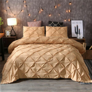 Gold-Duvet-Cover-Set-Pillow-Sham-Set-Pinch-Pleat-Pintuck-Polyester-For-Comforter