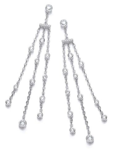 J JAZ IVANKA Sterling Silver Three Strand Round Cubic Zirconia Drop Earrings