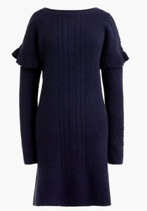 3d206c5cd8a NWT JCREW Cable-knit ruffle-sleeve sweater-dress SizeXL H2478 In ...