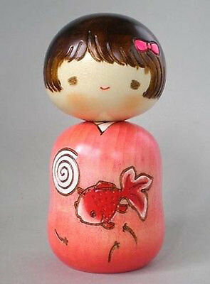 """Japanese Creative KOKESHI Wooden Doll Girl 4.5""""H Goldfish Yukata, Made in Japan"""