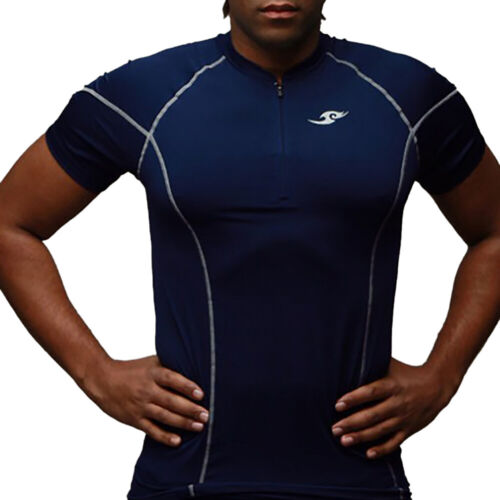 Mens Compression Short Sleeve Tee Gym Muscle Top Fitness Zip Neck Sports T-Shirt