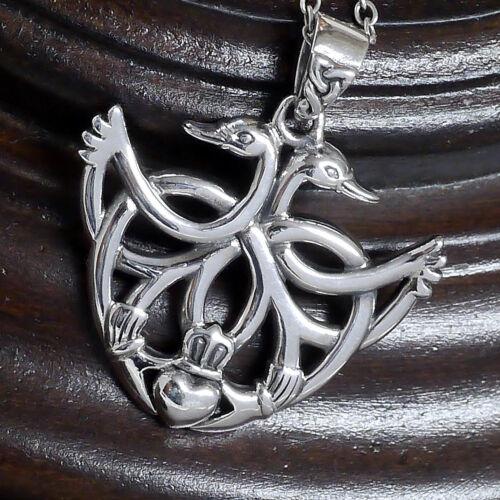 Kraftamulett Schwan Claddagh Anhänger 925 Silber Peter Stone ewige Liebe Treue